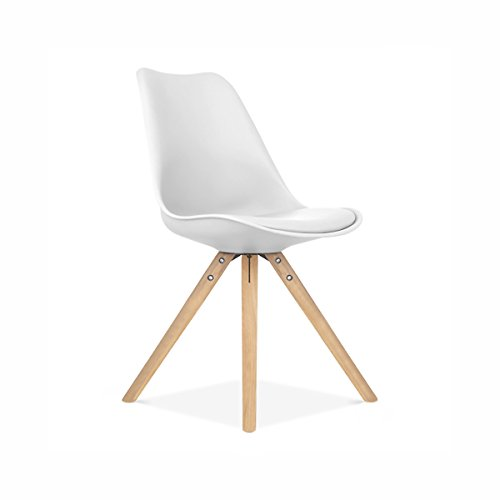 Viborg White Side Chair Natural Base (Set of 2)