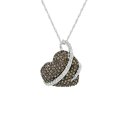 1.53 Carat (Cttw) Round Cut White and Brown Natural Diamond Heart Pendant with Necklace Chain Sterling Silver (H-I Color,I2-I3 Clarity) (1.53 Ct Natural)