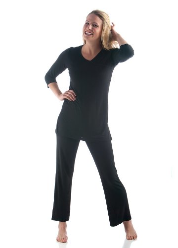 XL Black BambooDreams 'Haley' Crossover Tunic Pajama Set (Cropped Pants & Tunic Set)