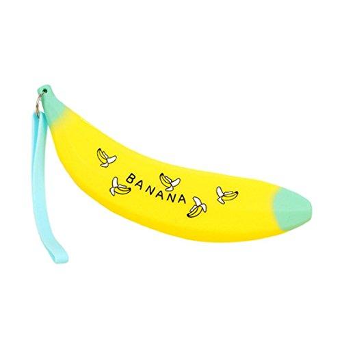 Naladoo Novelty Lovely Silicone Portable Banana Coin Pencil Case Purse Bag Pouch Keyring Wallet … (Yellow)