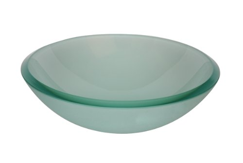 Aquabrass GF191 Frosted Glass Glass Basin Round Frosted Glass Basin Vessel Sink (Aquabrass Round Basin)
