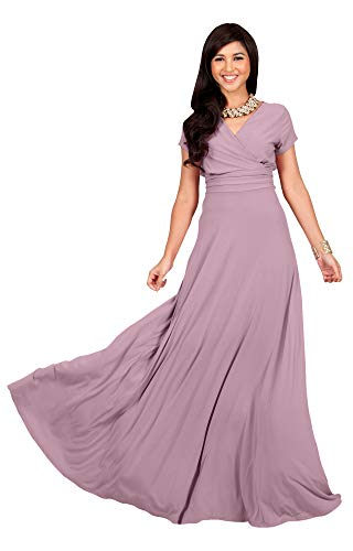 KOH KOH Womens Long Cap Short Sleeve V-Neck Flowy Cocktail Slimming Summer Sexy Casual Formal Sun Sundress Work Cute Gown Gowns Maxi Dress Dresses, Dusty Pink M ()