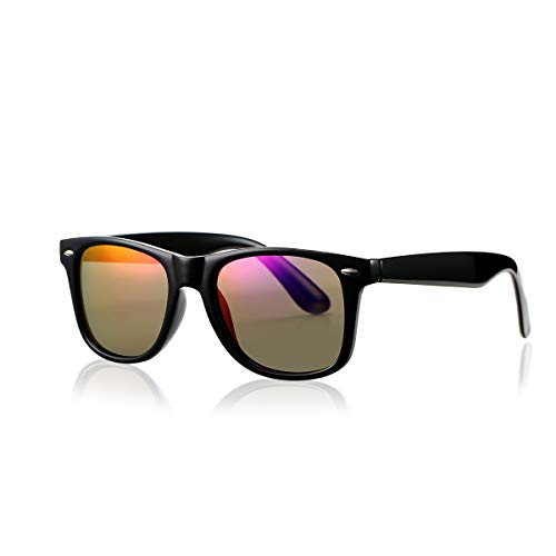 - AZORB Classic Polarized Sunglasses Unisex Square Horn Rimmed Design (Black/Purple Mirrored, 53)