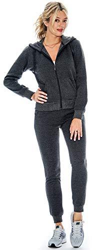 - Ladies 2 Piece Fleece Hoody Sweatsuit Set Order 2 Sizes Up (Charcoal, X-Large)