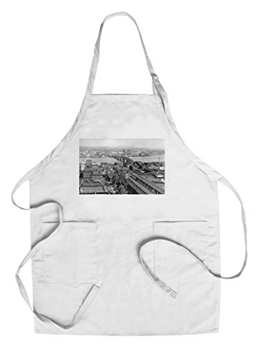 Portland, OR View of City and Hawthorne Bridge Photograph (Cotton/Polyester Chef's Apron) ()