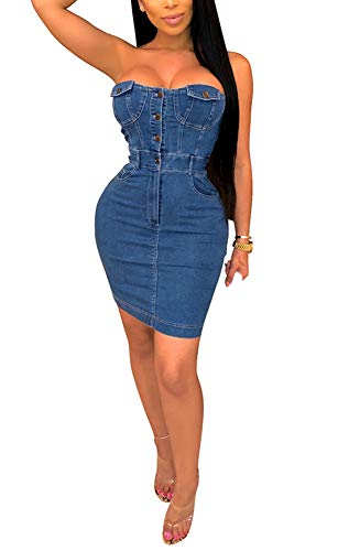 Front Denim Mini Dress - LAJIOJIO Women's Off Shoulder Strapless Bodycon Denim Dress Button Front Slim Fit Mini Jeans Dress Blue XL
