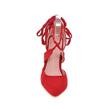 Talones de las mujeres Primavera Verano Otoño Otros Fleece oficina y carrera Fiesta y Noche Tacón de Aguja vestido con cordones Negro Azul Rosa Gris Rojo Black