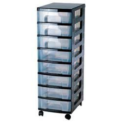 Really Useful Box Storage Unit   Capacity 8 X 7L   Black Tower Clear Drawers  925H