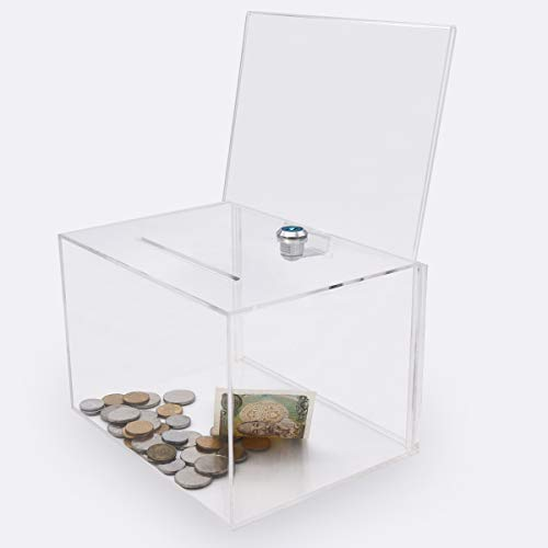 Acrylic Donation Box with Lock, Large Ballot Box with Sign Holder, Clear Suggestion Box Storage Container for Voting, Charity,Ballot ()