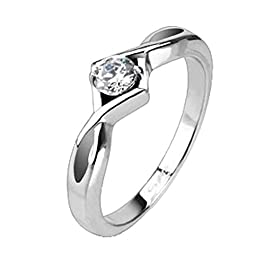 Fantasy Forge Jewelry Womens Solitaire Anniversary Ring Cubic Zirconia Wedding Band Stainless Steel Sizes 5-8