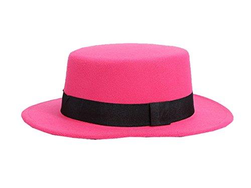 con bombetta derby di berretto a cinturino jazz lana in in Ahatech rosa fedora Unico con floppy rossa Cappello in fq6pSx5S