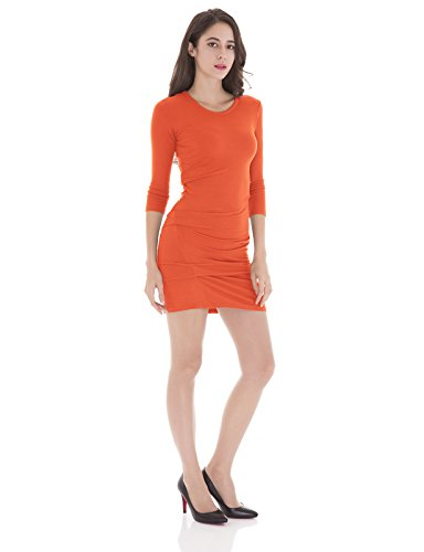 (H2H Womens Three Quarter Sleeves Crewneck Bodycon Bandage Mini Evening Dresses Coral US M/Asia M (CWDSD0182))