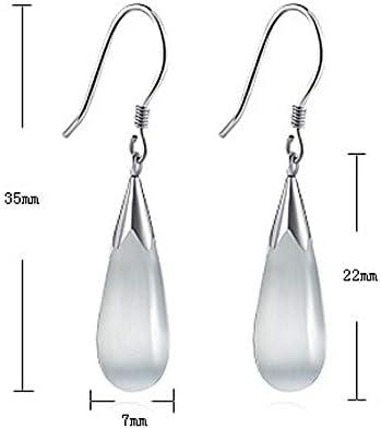 oval white stone Long cameo Earrings threader White Cat\u2019s Eye gemstone dangling Earrings Threader stainless steel