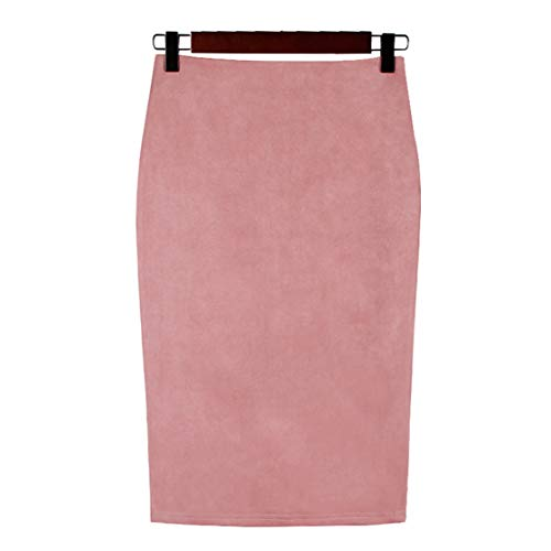 Long Suede Skirt (Chartou Womens Lightweight Elastic-Waist Faux Suede Leather Side Split Hip Packaged Skirt (Pink, Large))