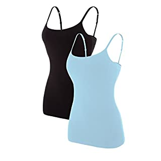 ATTRACO Ladies Cotton Soft Camisole Solid Tank Tops Pack of 2 Blue Black XL