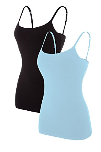 Attraco slim fit camis for womens shelf bra tank shirt packs blue black l Soft Shelf Bra