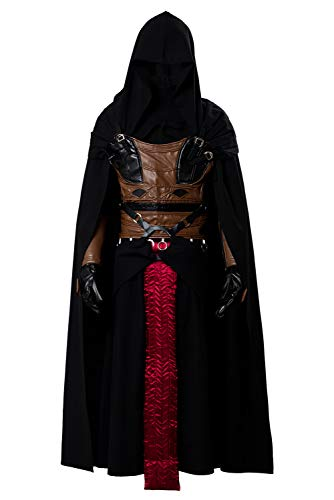 Cosplaysky Men's Tunic Hooded Robe for Darth Revan Costume Black Outfit Small ()