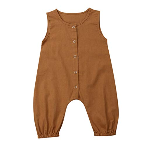 TEVEQ Newborn Girls Boys Sleeveless Jumpsuit Romper Solid Clothes Outfits Brown]()