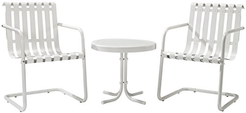 Crosley Furniture Gracie 3-Piece Retro Metal Outdoor Conversation Set with Side Table and 2 Chairs – Alabaster White For Sale
