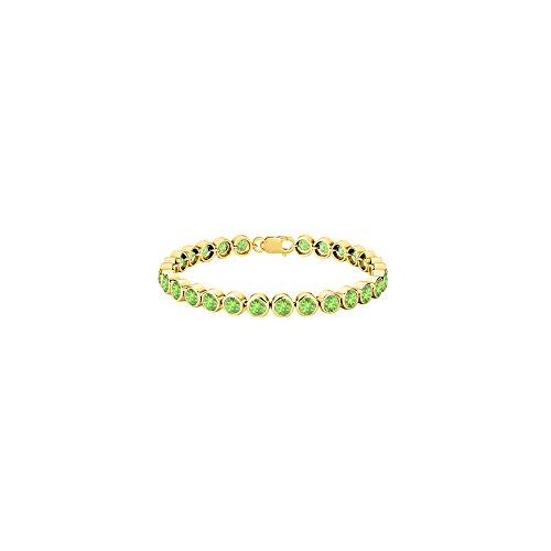 (18K Yellow Gold Vermeil Tennis Bracelet in Sterling Silver Peridot Bezel Set 25 Carat Totaling)