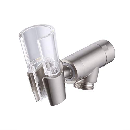 (KES Brass Adjustable Hand Shower Arm Mount G 1/2 Swivel Ball Connector Universal Showering Component, Brushed, PJ21-BN)