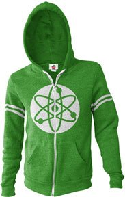 Rock Paper Scissors Lizard Spock Costume (Big Bang Theory Men's Atom Hoodie (Green, Medium))