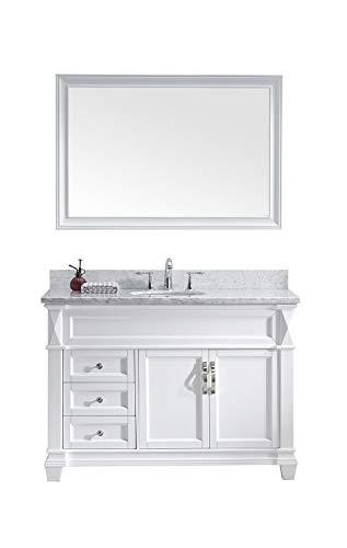 Virtu USA Victoria 48 inch Single Sink Bathroom Vanity Set in White w/Round Undermount Sink, Italian Carrara White Marble Countertop, No Faucet, 1 Mirror - MS-2648-WMRO-WH