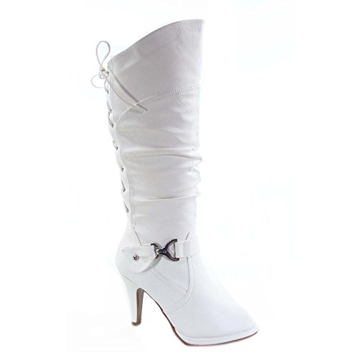 TOP Moda Womens Page-65 Knee High Round Toe Lace-Up Slouched High Heel Boots,White,11