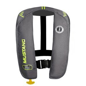 """MUSTANG MIT 100 INFLATABLE PFD AUTOMATIC GRAY/YELLOW-GREEN """"Item Category: Marine Safety"""" (Sold Per )"""