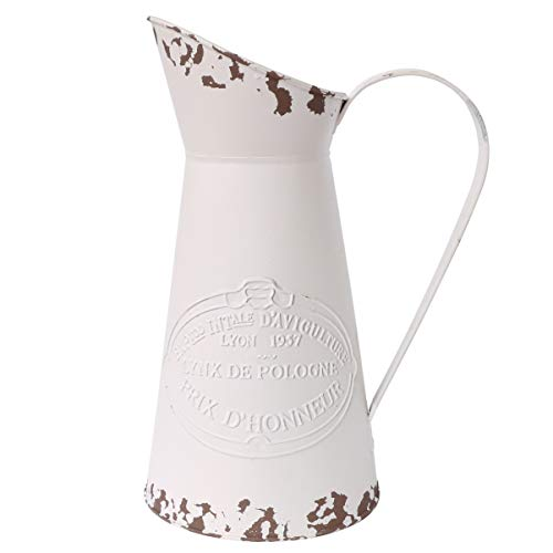 APSOONSELL French Style Country Rustic Metal Jug Flower Pitcher Vase for Farmhouse Decor Cream