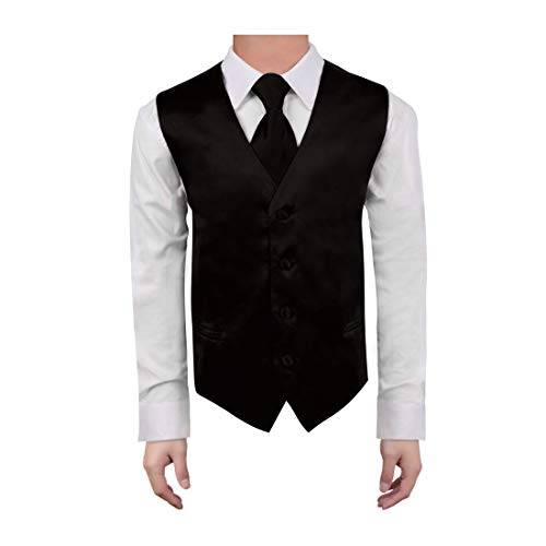 - Dan Smith DGDE0011-12 Black Children Solid Vest Microfiber For Birthday Tuxedo Vest with Matching Neck Tie for Age 12