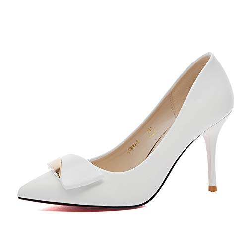 Buckle Pointed White Tips Women's Mouth Shoes Shoes Yukun Professional Tide zapatos Shallow tacón Shoes Metal Heeled High Women's alto de q6vqHwz