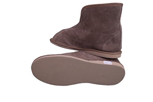 Unisex Damen Herren Natural Leder und Schafwolle ausgekleidet Hausschuhe Stiefel Größe 3