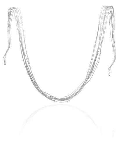 10 Strand Liquid Silver Necklace (Sterling Silver 24 Inch 10 Strand Liquid Silver Necklace - Spring Ring Closure)