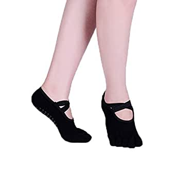 Xiang Ru Cotton Non-Slip Yoga Socks with Anti-skid Grips for Women Black#A