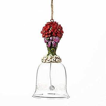 Jim Shore for Enesco Heartwood Creek Poinsettia Glass Bell Ornament, 4.5-Inch