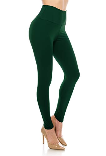 ALWAYS Leggings Women High Waist - Premium Buttery Soft Yoga Workout Stretch Solid Pants Hunter Green One Size]()