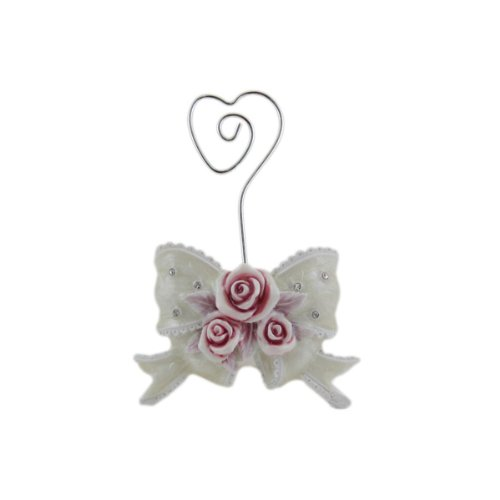 Rose Card Holder Bow Place Card Photo Memo Heart Shaped Clip ()