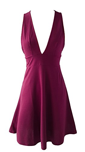 Neck Dress Line A Waist Party Demetory Club Swing Deep Dress Pink Hot Midi Empire V XZtwZqWF8