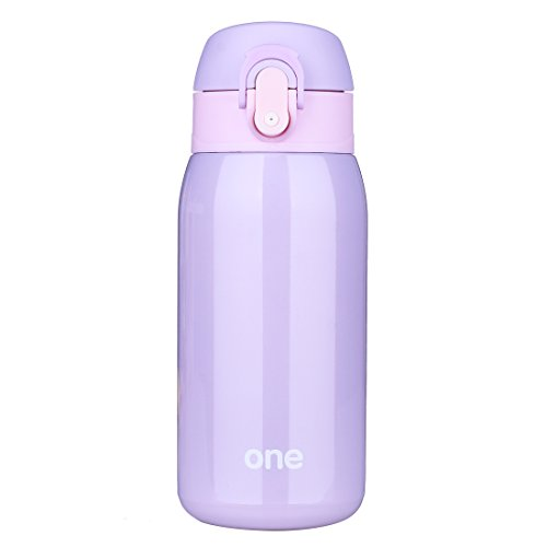 320ML/11oz Vacuum Insulated Flask, Stainless Steel Travel Coffee Mug, Child Kids Adult Drinking Water Bottle Thermos Gift (Purple)