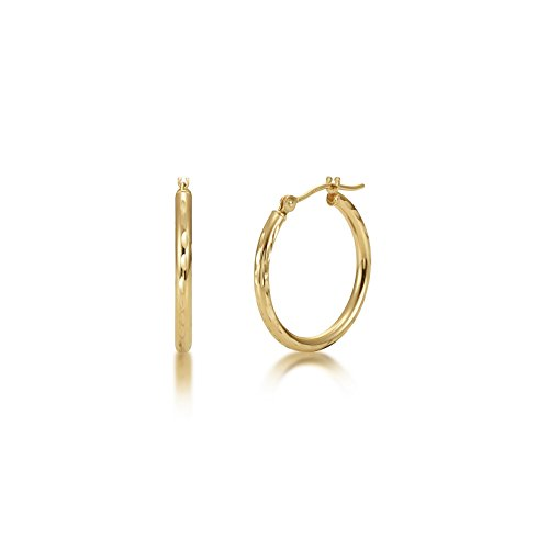 Full Diamond Cut 14k Yellow Gold 2mm x 20mm Click Top Tube Hoop Earrings - By Kezef ()