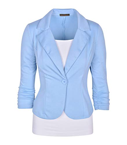 Auliné Collection Women's Casual Work Solid Color Knit Blazer Monaco Blue 2X ()