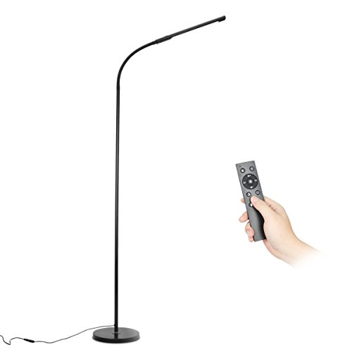 Byingo 12W Dimmable Remote Control & Touch Sensor Switch LED Floor Lamp - Modern Simplicity Style - Stepless Dimming - Fully Adjustable Long Gooseneck - for Sofa/Desk Reading, Living Room, Bedroom