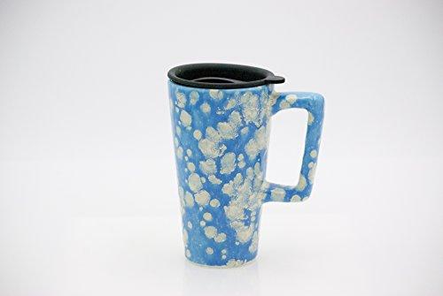Handmade ceramic travel mug cloudy sky blue (Mug Pottery Lid)