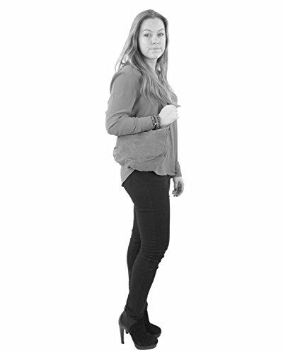 histoireDaccessoires - Bolso con Bandolera de Cuero de Mujer - SA142921GG-Emilia Tabaco