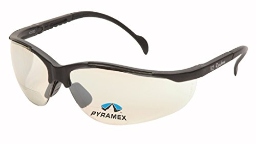 Pyramex V2 Readers Safety Eyewear, Indoor/Outdoor Mirror +1.5 Lens With Black Frame