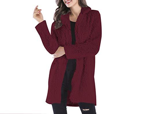 Curly Lamb Faux Long Furry Fake 2018 Warm Fluffy Jackets Streetwear Cardigan,red,L