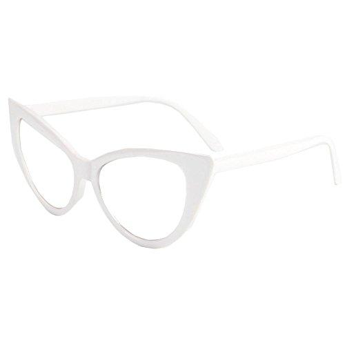[BestWare Cat-Eye Eyeware Women Eyeglasses Cateye Glasses Fashion Glasses Women Sunglasses White] (White Cat Eye Glasses)