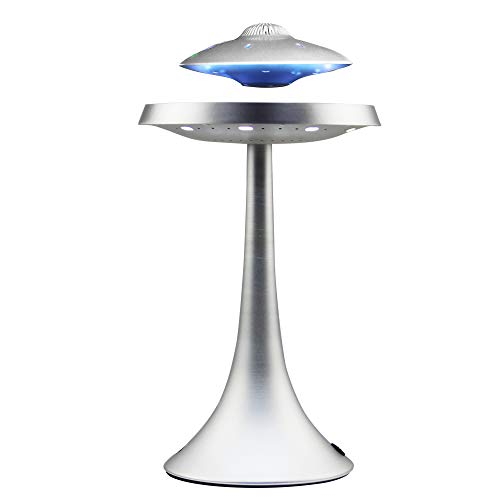 Levitating Floating Speaker, Magnetic UFO Bluetooth Speaker V4.0, LED Lamp Bluetooth Speaker with 5W Stereo Sound, Wireless Charge, 360 Degree Rotation, for Home/Office Decor,Ideal Gift (Sliver)