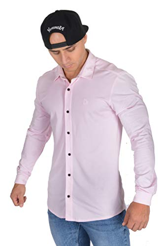 YoungLA Men's Dress Shirt Athletic Slim Fit Stretch Long Sleeve Bottom Down 415 Pink ()